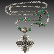 """Large Jerusalem Cross 900 Silver Necklace Enhanced Emerald Accent Beads and Chunky Chain 29"""""""