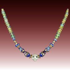 "14K Diamond Eyes Carved Skull | Opal and Enamel Bead Necklace 19"""