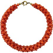 Antique Woven Red Salmon Mediterranean Coral Bracelet