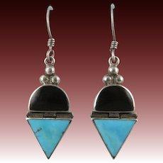 Turquoise and Black Onyx Door Knocker Sterling Silver Earrings