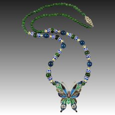 Chrome Diopside and Plique A Jour Enamel Sterling Silver Butterfly Necklace 22 Inches