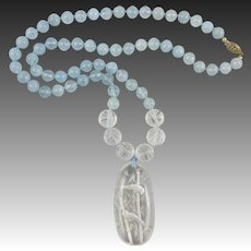 Aquamarine and Carved Rock Crystal Pendant Necklace 14KGF Clasp