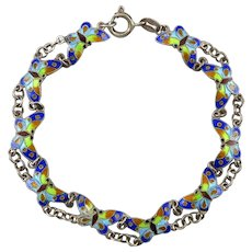 Chinese Export Enameled Butterfly Sterling SIlver Bracelet