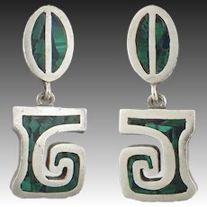 Vintage Taxco Sterling Silver and Malachite Dangle Style Earrings