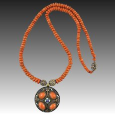 """Art Deco Chinese Red Salmon Coral and Gilt SIlver Enamel Pendant Necklace 25"""""""