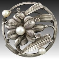 Art Deco Sterling Silver and Cultured Pearl Lily Brooch