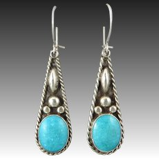 c1960 Turquoise and Sterling Silver Teardrop Earrings Signed
