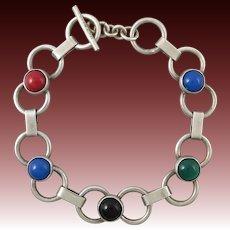 Sterling Silver Big Link and Colorful Gemstone Bracelet