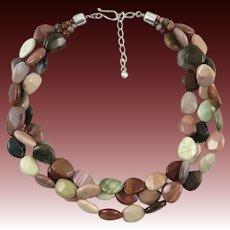"3 Strand Mookaite High Polish Bead Necklace 23"""