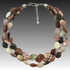 3 Strand Mookaite High Polish Bead Necklace 23""