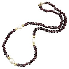 Rose Cut Garnet Bead and Freshwater Cultured Pearl Necklace 12K GF 18.5""