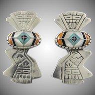 Santa Domingo Kewa Gemstone Inlay and Sterling Silver Earrings Signed