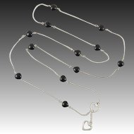 """Black Onyx Heart and Sterling Silver Station Style Necklace 34"""""""