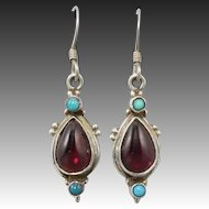 Turquoise and Red Garnet Sterling Silver Earrings