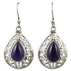 Deep Purple Amethyst and Sterling Silver Openwork Earrings