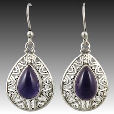 Deep Purple Amethyst and Sterling Silver Openwork Earrings