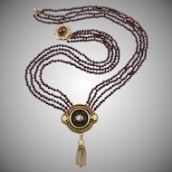 15K Victorian Gold Locket and Garnet Multi Strand Necklace