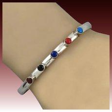 Multi Gemstone Southwestern Sterling Silver Cuff Bracelet