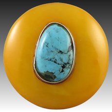 Mid Century Carved Butterscotch Amber and Turquoise Ring