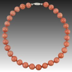 Big Bead Coral Color Peach Aventurine Necklace 19""