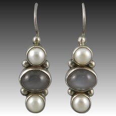 Gray Moonstone and Culture Pearl Sterling Silver Earrings