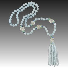 Aquamarine Lantern Tassel with Carved Rock Crystal and Enamel Bead Necklace 32""