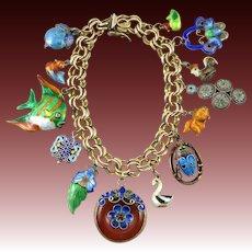 Vintage Chinese Enameled Gilded Silver Charm Bracelet