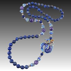 Lapis And Enamel Vermeil Dragon Necklace With Amethyst and Blue Topaz