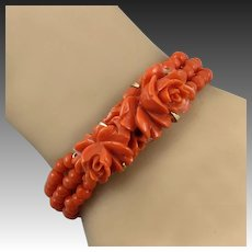 14K Red Salmon Coral Carved Rose 3 Strand Bracelet