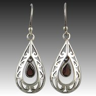 Garnet and Sterling Teardrop Double Dangle Earrings
