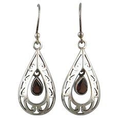 Garnet and Sterling Teardrop Double Dangle Earrings