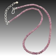 "Faceted Pink Sapphire and Sterling Silver Necklace 21"" 115ctw"