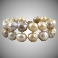 Colorful and Large Cultured Wrinkle Pearl Double Strand Bracelet
