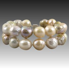 Colorful and Large Cultured Wrinkle Pearl Kasumi-Like Double Strand Bracelet
