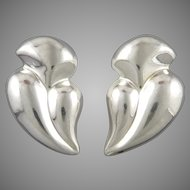 Large Puffy Freeform Shape Earrings Vintage Taxco Sterling Silver