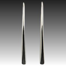 Long and Sleek Curved Modernist Style Sterling Silver Earrings