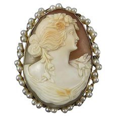 Victorian 15K Gold and Seed Pearl Carved Cameo Pendant