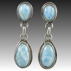 Larimar and Sterling Silver Dangle Style Earrings