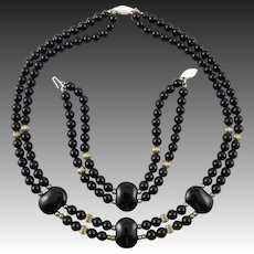 Black Onyx and Sterling Silver Necklace and Bracelet Set