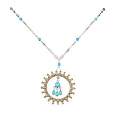 Turquoise Opal and Vermeil Etruscan Style Pendant Necklace