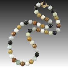 14K Multi Color Jade Bead Necklace with Matching Clasp