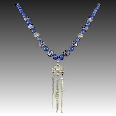 Chinese Qing Dynasty Silver Opium Chatelaine Necklace with Lapis and Enamel Beads