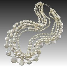 5 Strand Mixed Cultured Pearls Necklace 18.5""