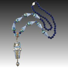 Chinese Enameled Silver Needle Case and Lapis Necklace 28""