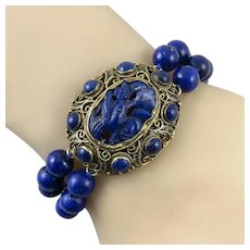 Chinese Carved Lapis and Gold Vermeil 2 Strand Bracelet