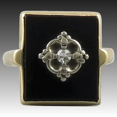 14K Art Deco Diamond and Black Onyx Ring