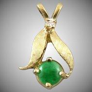 14K Jade and Diamond Pendant