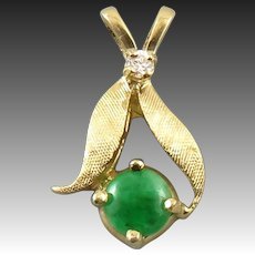 14K Jade and Diamond Pendant