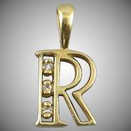 14K Diamond Letter R Charm or Pendant