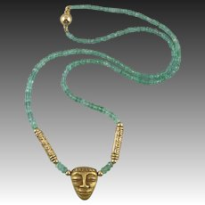 14K Gold Fine Emerald Bead and Pre-Columbian Style Gold Mask Necklace